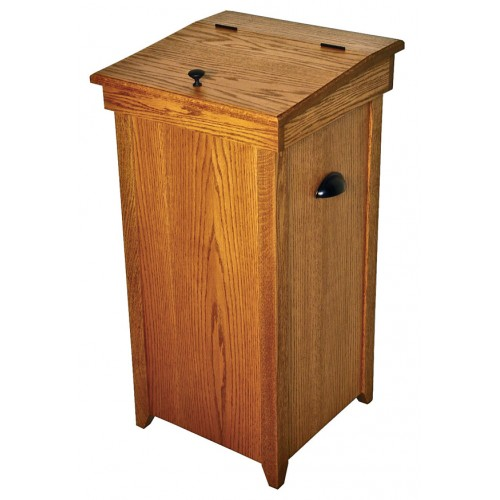 Online Auction For Amish Wooden Oak Hinge Top 30 Gallon