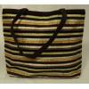 Elissa Bloom Purse Cotton Female Adult Tote Brown/Gold/Beige Stripes 10-17df
