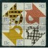 1745-1748 13c Quilts Fine MNH Plt/16 UL 38324-29 PltL11691