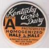 KY maverick Milk Bottle Cap Name/Subject: Kentucky Acres Dairy Half & Half~140