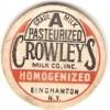 New York Binghamton Milk Bottle Cap Name/Subject: Crowley's Milk Co Grade ~411