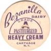 New York Carthage Milk Bottle Cap Name/Subject: Bezanilla Dairy Heavy Crea~440