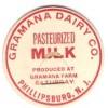 NJ Phillipsburg Milk Bottle Cap Name/Subject: Gramana Dairy Co. MBCFlat1~481