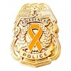 Orange Awareness Ribbon Pin Police Badge Officer Sheriff Cop Cancer Causes New