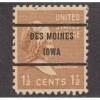 USED SCOTT #805 WITH DES MOINES, IOWA PRECANCEL