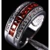 Garnet CZ Band Princess-cut set in Rhodium plated Women's Ring Size 13