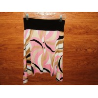 Julie's Closet Skirt A-Line Knee Length Female Adult M Pink/Tans/White Geometric