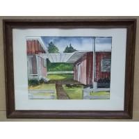 Handmade Patio Scene Watercolor 17 1/2in x 13in Unsigned  * Paper Glass