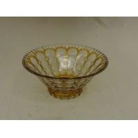 Designer Fruit Bowl 10in x 10in x 4 1/2in Clear/Gold Retro Vintage Glass