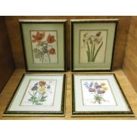 Custom Made Framed Art Set 4 Floral Prints 21 1/2in x 18in x 1 1/2in  * Non Glar