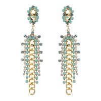 18K Gold Plated White Opal Rhinestones Elegant Flower Long Link Tassel Earrings