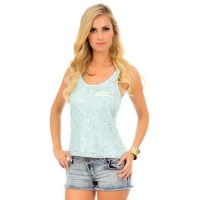 Metallic Lace Tank Top Cami With Decorative Zipper Size L