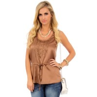 Brown Studded Metallic Top Shell Blouse Shirt Size L