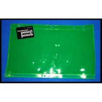 *BRAND NEW* GREEN TRANSLUCENT PENCIL POUCH SCHOOL OFFICE SUPPLIES **WITH TAGS**
