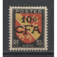 1949  REUNION  10 on 30 c.  Arms type with overprint  mint*,  Scott # 268