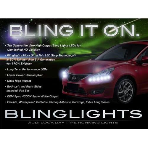 2012 2013 Nissan Versa LED DRL Strips Head Lights Day Time Running Strip Lights