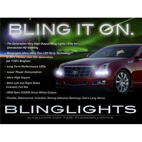 Cadillac CTS LED DRL Strip Lights Day Time Running Lamps DRLs Head Lights Head