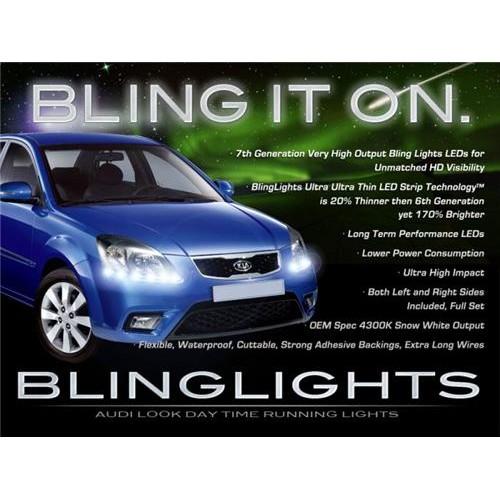 Kia Rio & Rio5 LED DRL Light Strips Head Lights Day Time Running Strip Lights