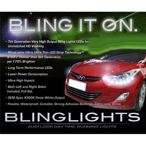 2011 2012 2013 Hyundai Elantra LED DRL Strips Headlamp HeadLight Head Lights Da
