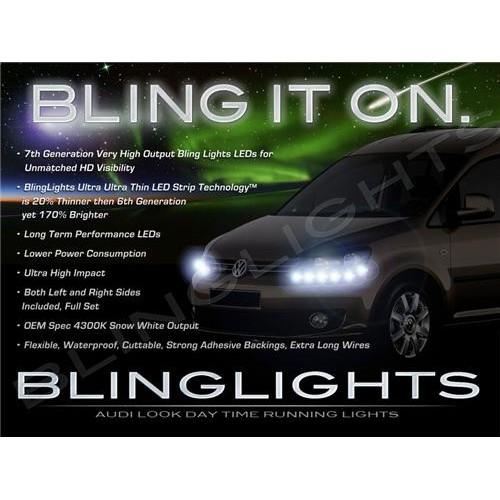 Volkswagen VW Caddy LED DRL Light Strips Head Lights Day Time Running Lights