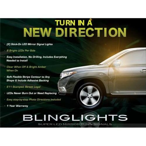 2011-2013 Toyota Highlander LED Mirror Turn Signals Light Kit Side Blinker Turn