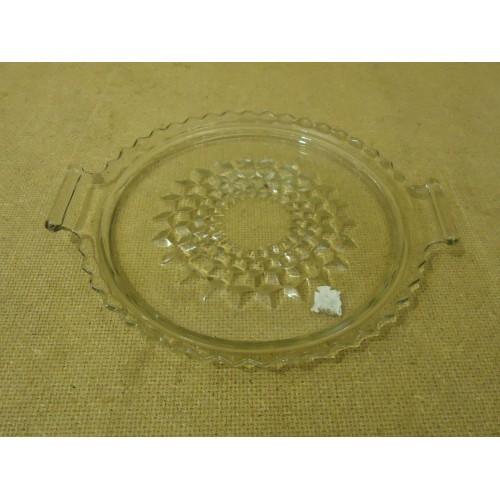 Designer Decorative Glass Dish 7 1/2in Diameter x 1/2in H Clear Glass
