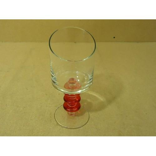 Designer Stem Water Drinking Glass 9 1/2in H x 4in Diameter Red/Clear Glass