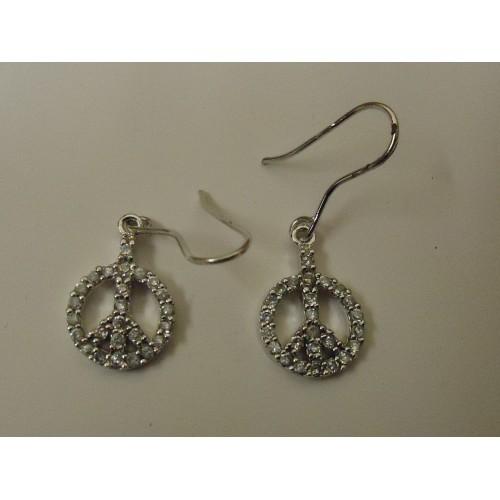 Designer Fashion Earrings Peace Drop/Dangle Metal Female Adult Silver
