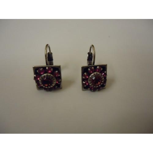 Designer Fashion Earrings Flower Drop/Dangle Female Adult Silver/Pinks/Black