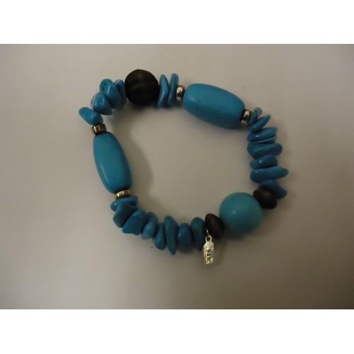 Designer Fashion Bracelet 2 1/4in Diameter Beaded/Strand Faux Stone Female Blues