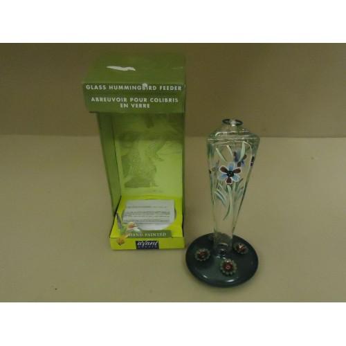 Avant Garden Hummingbird Feeder 8-ounce Hand-Painted Violet Meadow 8111-2 Glass