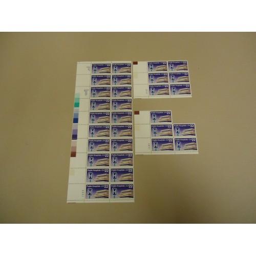 USPS Scott 2210 22c Public Hospitals Stamps Lot of 3 Plate Block 31 Stamps