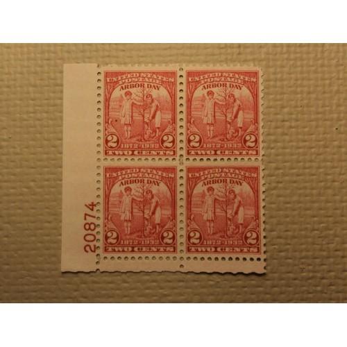 USPS Scott 717 2c Arbor Day 1872-1932 Mint NH OG Plate Block 4 Stamps