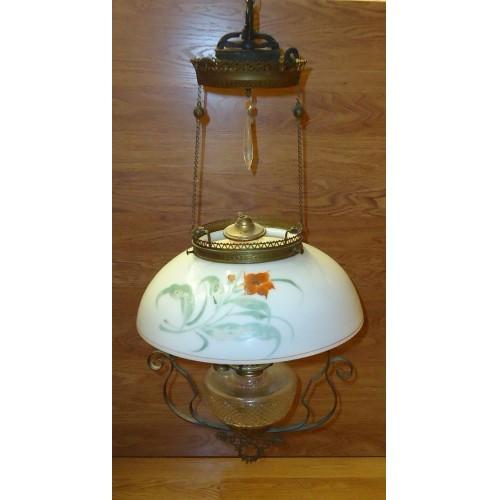 Custom Made  Vintage Oil Lamp Chandelier with Crystals 15in Diameter Glass Metal