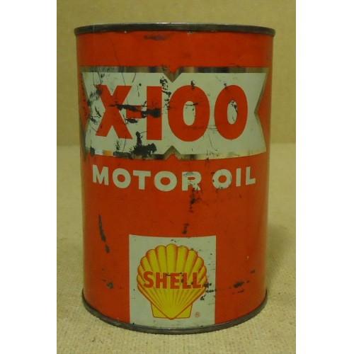 Shell X-100 Motor Oil 32floz  Vintage SAE 2020W  Oil Metal