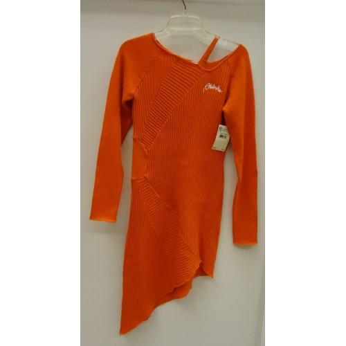 Akdmks Long Sleeve Knee-Length Dress Acrylic Female Adult M Bright Orange Knitte