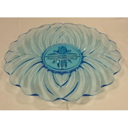 Designer 112-30k Vintage Serving Dish Blue Depression Glassware 11in Glass
