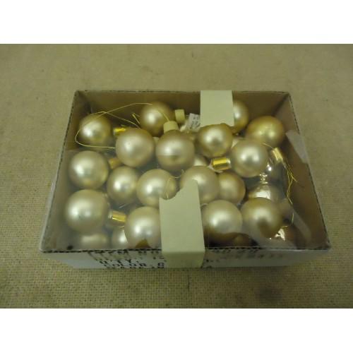 Designer Hanging Balls One Box Decorative 1in Diameter Gold Glass