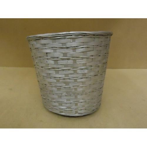 Handcrafted Basket 12in Diameter x 11in H Silver Wicker