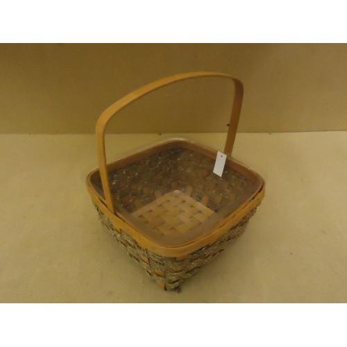 Designer Basket 13in H x 11in W x 11in D Woodtone Handle Plastic Liner Wicker