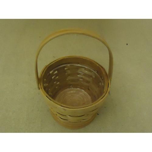 Designer Basket 7in Diameter x 5in H Woodtone Handle Plastic Liner Wicker