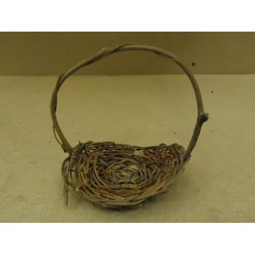 Handcrafted Mini Basket 6in H x 5in Diameter Woodtone Twig Wicker