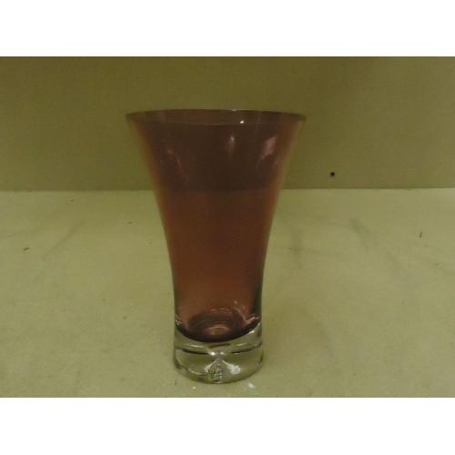 Designer Flower Vase 8in H x 5in D Plum Modern Round Curved Glass