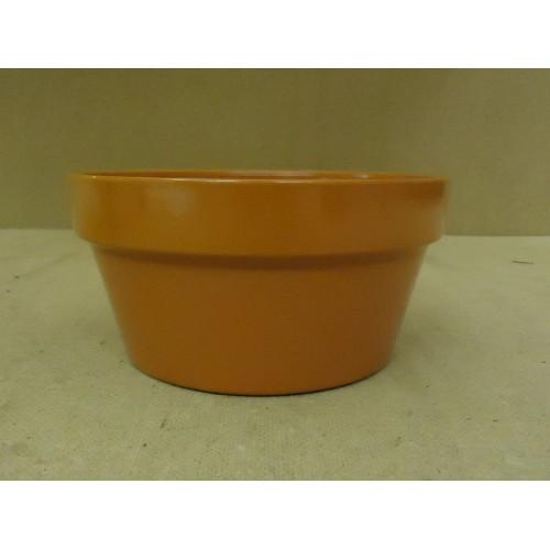 Designer Flower Pot 8 1/2in Diameter x 4in H Orange Traditional Round Ceramic