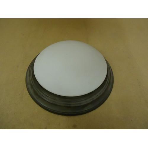 Designer Ceiling Light Round 18in D x 5in H Antique Bronze 3 Bulb Metal Glass