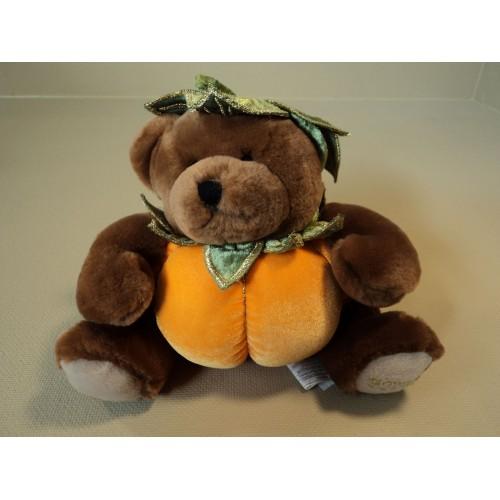 Standard Stuffed Pumpkin Bear 8-in Orange/Brown/Green Soft Polyester Fiber