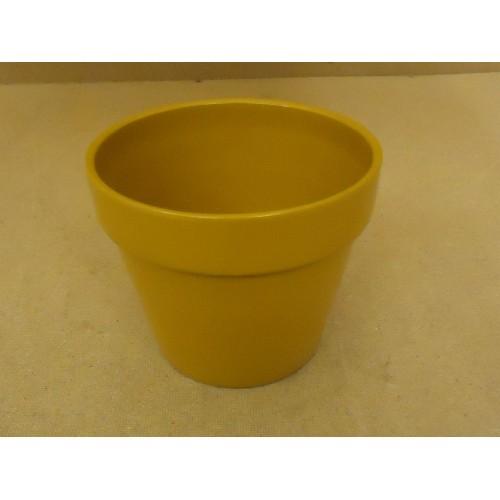 Designer Flower Pot 7in Diameter x 6in H Mustard Round Porcelain