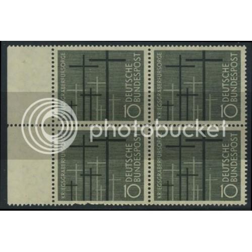 1956 GERMANY Scott 753 (Michel 248) MNH BLOCK w/ left margins