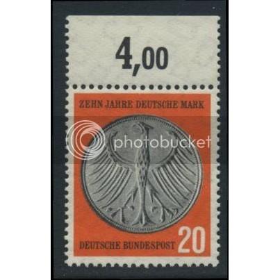 1958 GERMANY Scott 787 (Michel 291) MNH SINGLE w/ top margin (c)