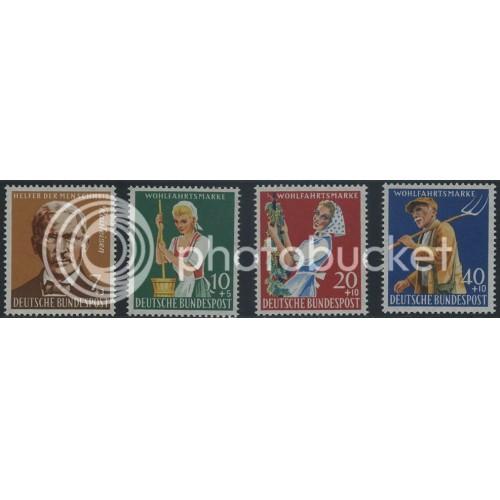 1958 GERMANY Scott B362-B365 (Michel 297-300) MNH SET of 4 SINGLES